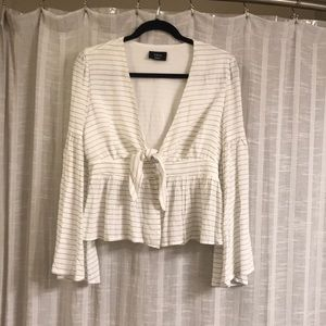 Vici white and grey striped blouse